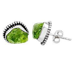 8.12cts natural raw peridot crystal 925 silver dangle earrings r66014