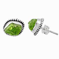 8.07cts natural raw peridot crystal 925 silver dangle earrings r66015