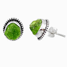 7.96cts natural raw peridot crystal 925 silver dangle earrings r66019