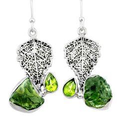 9.67cts natural moldavite (genuine czech) 925 silver deltoid leaf pendant r71983