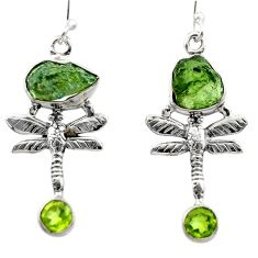 9.66cts natural moldavite (genuine czech) 925 silver dragonfly earrings r29530