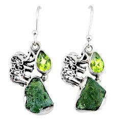 8.91cts natural moldavite (genuine czech) 925 silver elephant earrings r57296