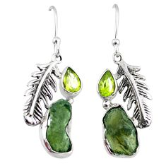 9.16cts natural moldavite (genuine czech) 925 silver feather earrings r57307