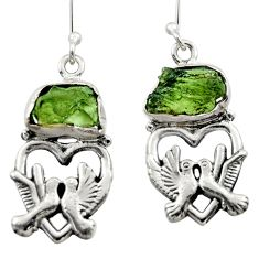 10.26cts natural moldavite (genuine czech) 925 silver love birds earrings r29534