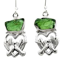 10.44cts natural moldavite (genuine czech) 925 silver love birds earrings r29540