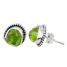 8.03cts natural raw peridot crystal 925 silver stud earrings r66011