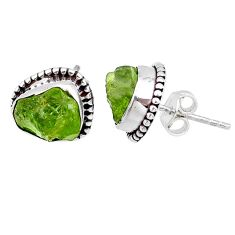 7.66cts natural raw peridot crystal 925 silver stud earrings r66013