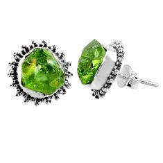 9.37cts natural raw peridot crystal 925 silver stud earrings r66022