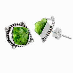 8.84cts natural raw peridot crystal 925 silver stud earrings r66023