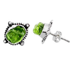8.56cts natural raw peridot crystal 925 silver stud earrings r66026