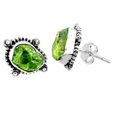 8.84cts natural raw peridot crystal 925 silver stud earrings r66027