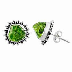 8.93cts natural raw peridot crystal 925 silver stud earrings r66028