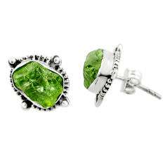 9.37cts natural raw peridot crystal 925 silver stud earrings r66034