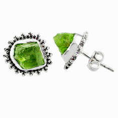 9.44cts natural raw peridot crystal 925 silver stud earrings r66038