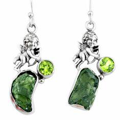 10.84cts natural moldavite (genuine czech) fancy silver angel earrings r57264