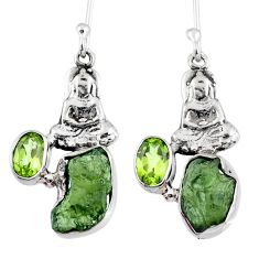 8.05cts natural moldavite (genuine czech) silver buddha charm earrings r57251