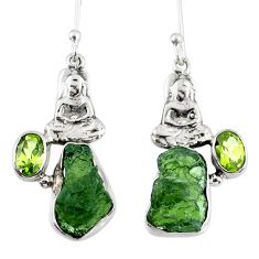 9.47cts natural moldavite (genuine czech) silver buddha charm earrings r57253
