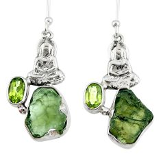 9.05cts natural moldavite (genuine czech) silver buddha charm earrings r57254