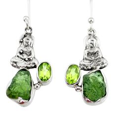 8.44cts natural moldavite (genuine czech) silver buddha charm earrings r57256