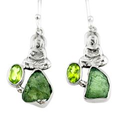 8.91cts natural moldavite (genuine czech) silver buddha charm earrings r57258