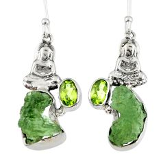 9.99cts natural moldavite (genuine czech) silver buddha charm earrings r57259