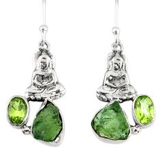 8.49cts natural moldavite (genuine czech) silver buddha charm earrings r57260