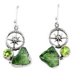8.78cts natural moldavite (genuine czech) silver dangle earrings r57328