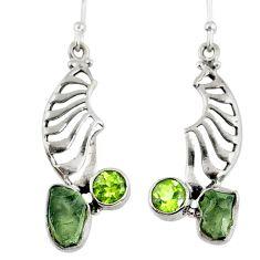 8.09cts natural moldavite (genuine czech) silver dangle earrings r57329