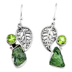 8.91cts natural moldavite (genuine czech) silver deltoid leaf earrings r57281