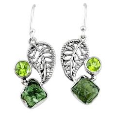 8.78cts natural moldavite (genuine czech) silver deltoid leaf earrings r57282