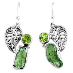 9.23cts natural moldavite (genuine czech) silver deltoid leaf earrings r57285