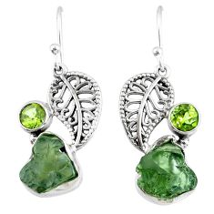 9.97cts natural moldavite (genuine czech) silver deltoid leaf earrings r57286