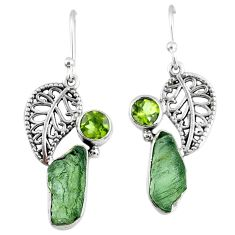 9.16cts natural moldavite (genuine czech) silver deltoid leaf earrings r57287