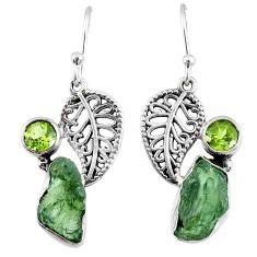 9.54cts natural moldavite (genuine czech) silver deltoid leaf earrings r57288