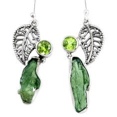 10.39cts natural moldavite (genuine czech) silver deltoid leaf earrings r57290