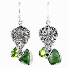 7.67cts natural moldavite (genuine czech) silver deltoid leaf earrings r57321