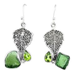 8.91cts natural moldavite (genuine czech) silver deltoid leaf earrings r57322