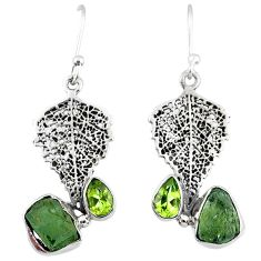7.64cts natural moldavite (genuine czech) silver deltoid leaf earrings r57323