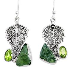 8.51cts natural moldavite (genuine czech) silver deltoid leaf earrings r57324