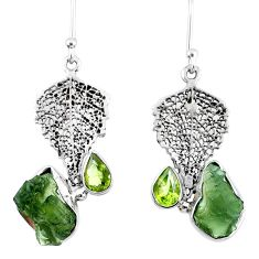 8.80cts natural moldavite (genuine czech) silver deltoid leaf earrings r57325