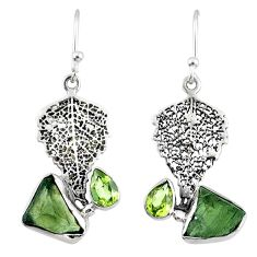 7.64cts natural moldavite (genuine czech) silver deltoid leaf earrings r57326