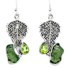 7.67cts natural moldavite (genuine czech) silver deltoid leaf earrings r57341