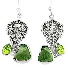 8.06cts natural moldavite (genuine czech) silver deltoid leaf earrings r57342