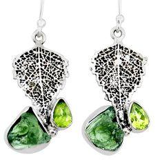 8.07cts natural moldavite (genuine czech) silver deltoid leaf earrings r71982