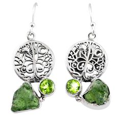 9.86cts natural moldavite (genuine czech) silver tree of life earrings r57243