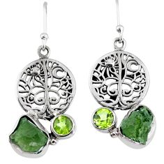 10.17cts natural moldavite (genuine czech) silver tree of life earrings r57249