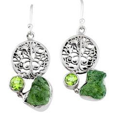 10.85cts natural moldavite (genuine czech) silver tree of life earrings r57250