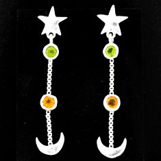 1.94cts natural moon peridot citrine 925 sterling silver star earrings r71213