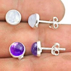 5.41cts natural moonstone amethyst 925 silver 2 pair studs earrings t50832
