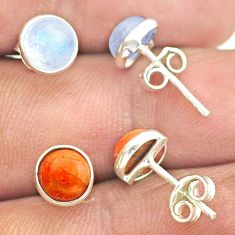 5.02cts natural moonstone copper turquoise silver 2 pair studs earrings t52397